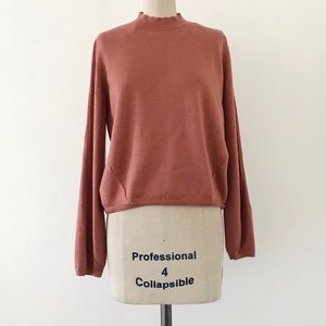 COS | Wool Mock Neck Coral Sweater